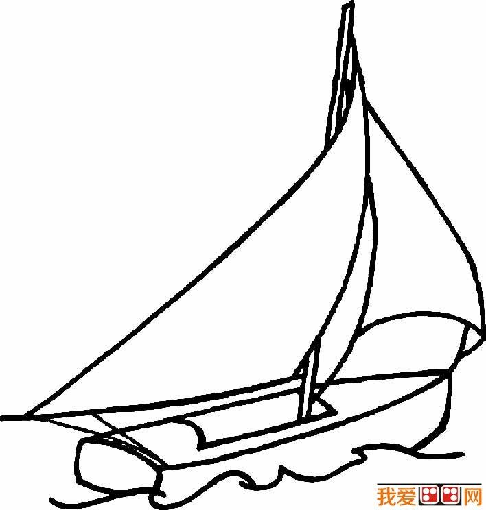 帆船简笔画图片,卡通帆船简笔画大全(3)