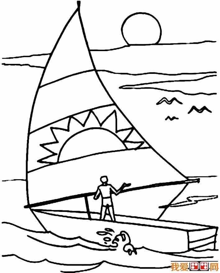 帆船简笔画图片,卡通帆船简笔画大全(4)