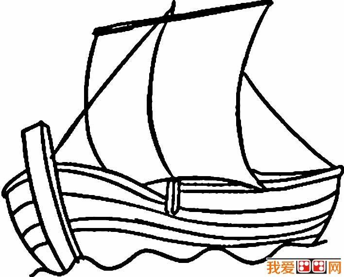 帆船简笔画图片,卡通帆船简笔画大全(5)