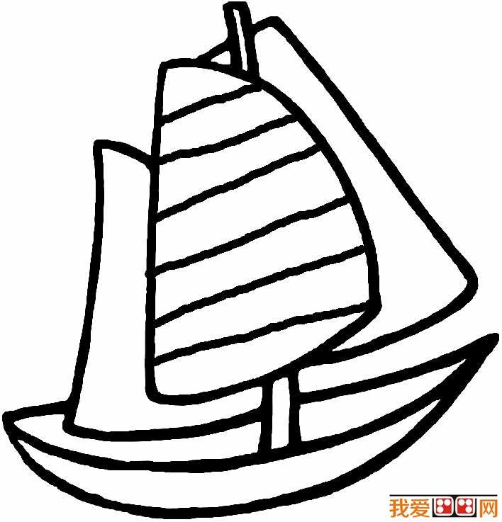 帆船简笔画图片,卡通帆船简笔画大全 6