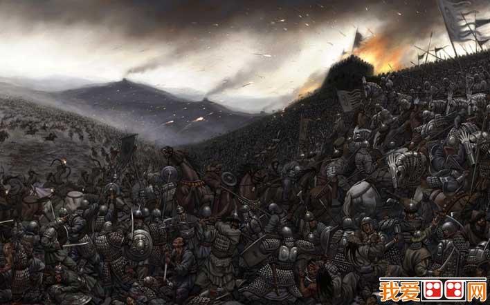 战争场面插画:欧洲古代中世纪冷兵器时代战争场面