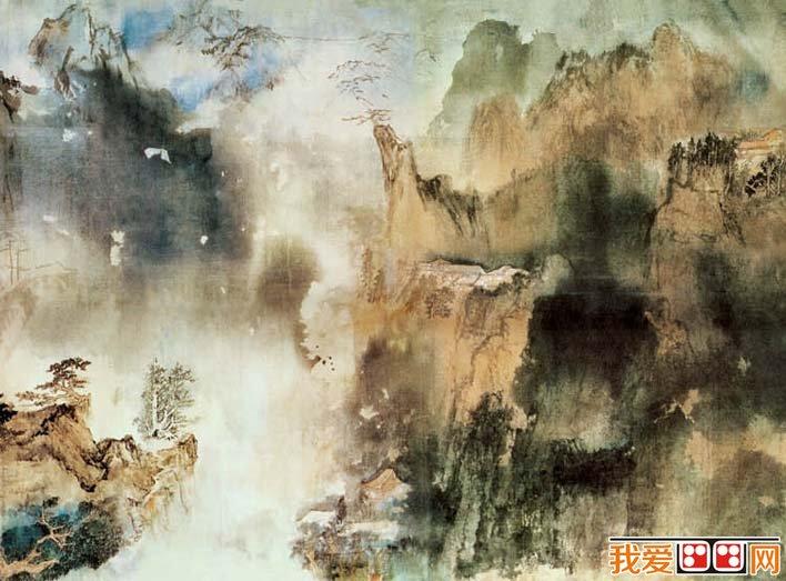 张大千《庐山图》_大师临终创作的巨幅山水画长卷赏析图片