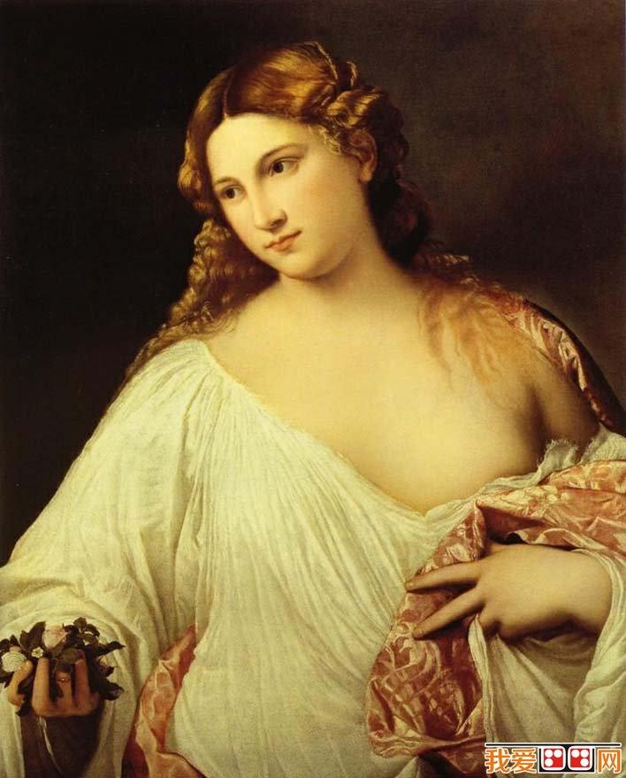 这是一幅肖像性很强的主题性 绘画,画中是位手持花束的威尼斯美人