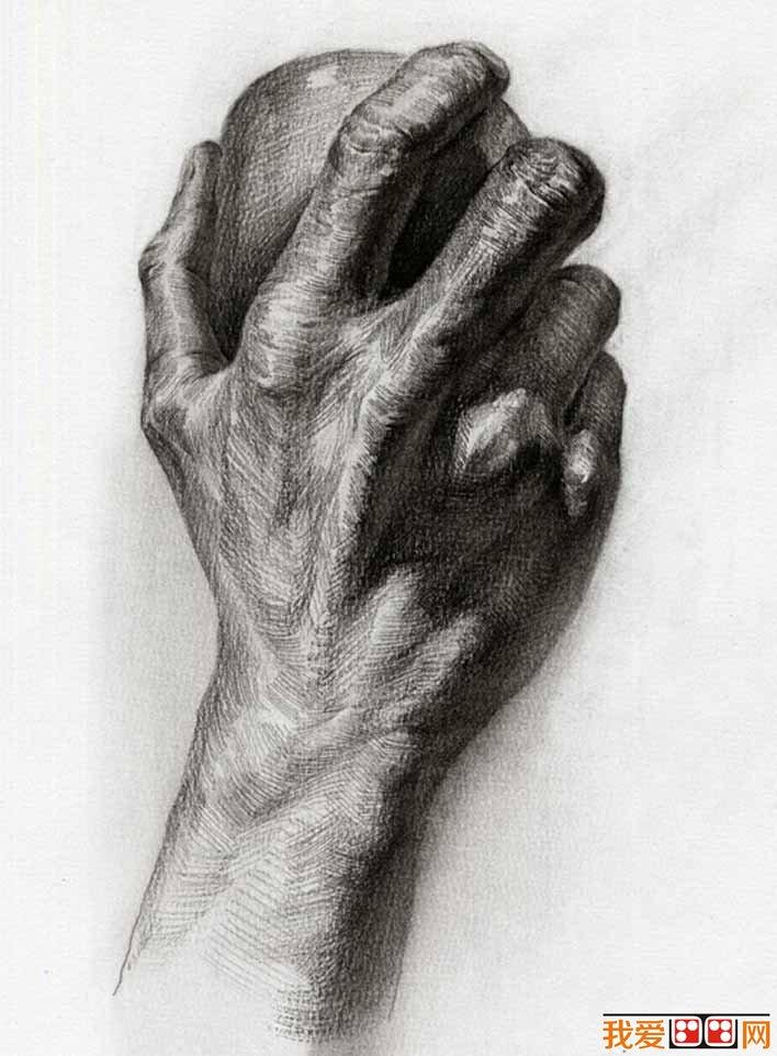 素描拿苹果的手背部_手部的素描图片