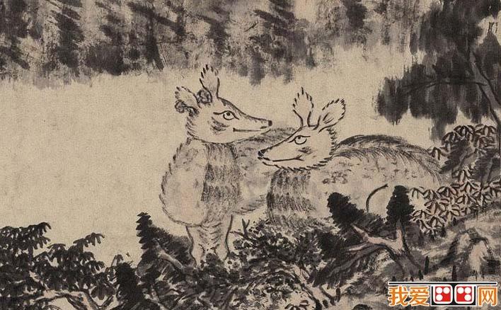 八大山人《群鹿图》_朱耷梅花鹿配水墨山水画作品赏析