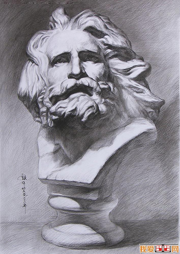 马赛石膏像,马赛素描,马赛石膏头像素描图片大图