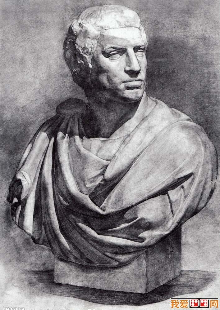 布鲁特斯胸像石膏像,布鲁特斯头像素描,布鲁特斯石膏素描图片