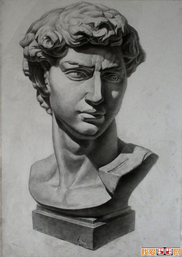 大卫石膏像,大卫头像素描,大卫石膏素描图片图片