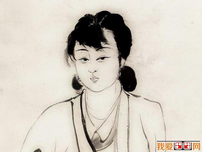 张大千《芭蕉仕女》_1942年作水墨白描仕女画高清大图