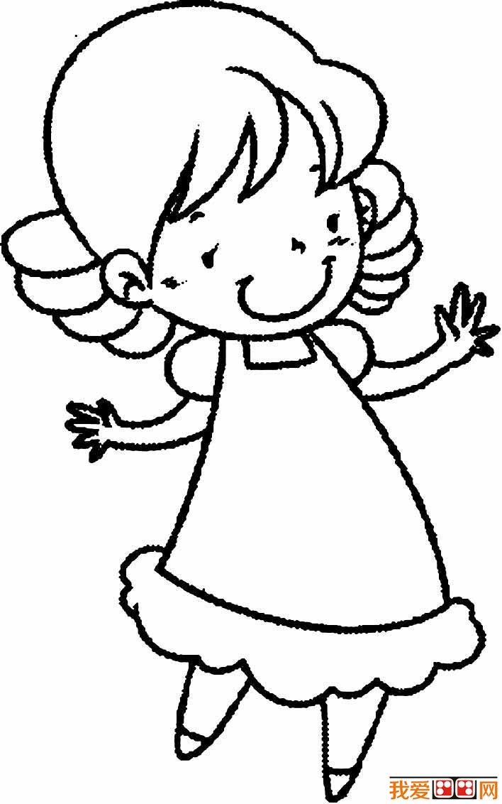 小女孩简笔画图片大全,卡通小女孩简笔画,简笔画女孩图片 2