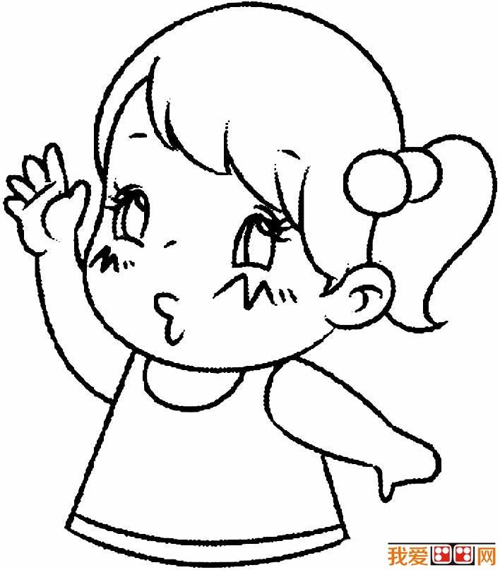 卡通小女孩简笔画,可爱简笔画小女孩图片四