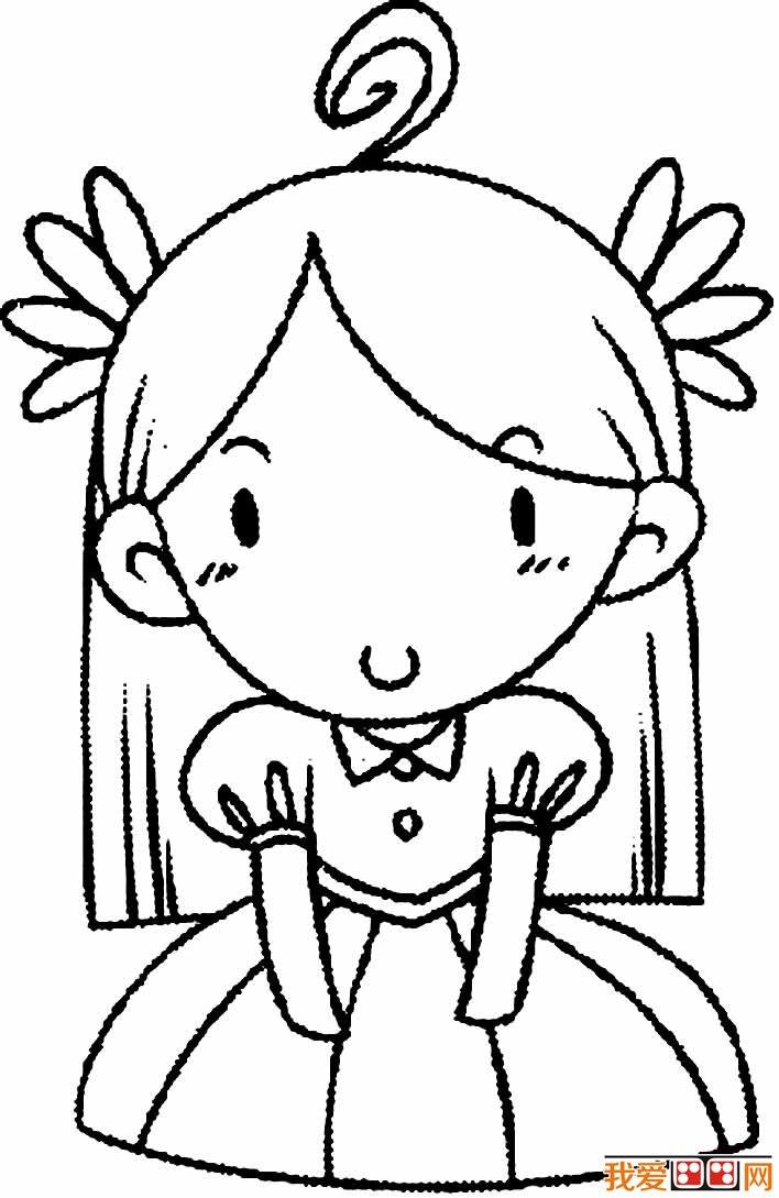卡通小女孩简笔画,可爱简笔画小女孩图片五