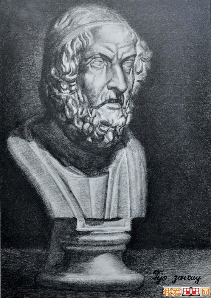 荷马石膏像,荷马素描头像