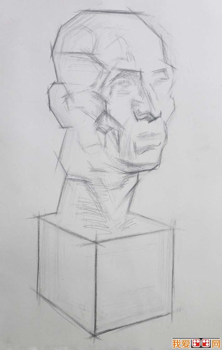 素描石膏头像写生教程 肌肉素描石膏像画法步骤 2图片