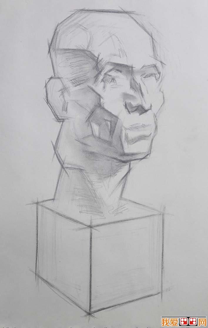 素描石膏头像写生教程 肌肉素描石膏像画法步骤 3图片