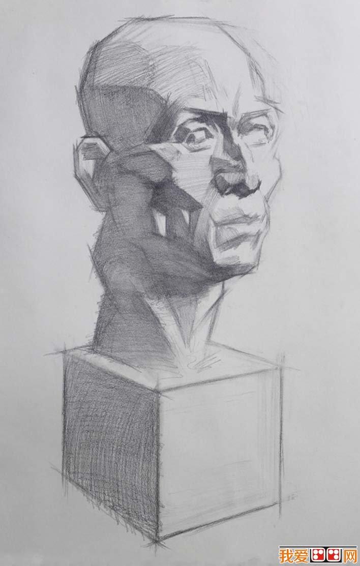 素描石膏头像写生教程:肌肉素描石膏像画法步骤(5)