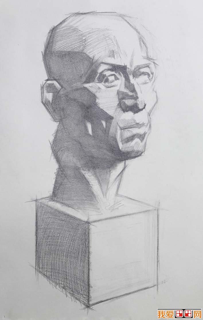 素描石膏头像写生教程 肌肉素描石膏像画法步骤 6