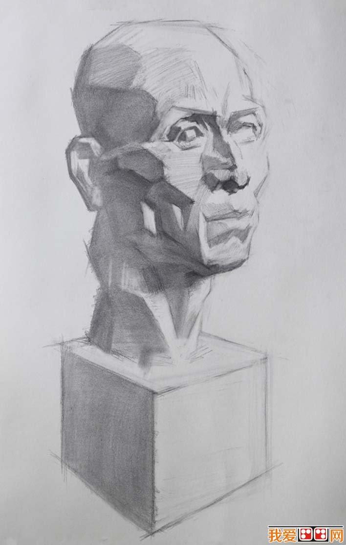 素描石膏头像写生教程:肌肉素描石膏像画法步骤(7)