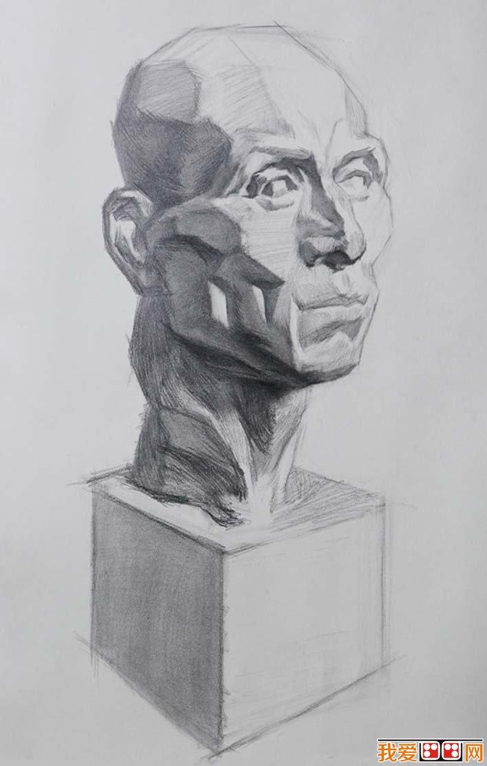 素描石膏头像写生教程 肌肉素描石膏像画法步骤 8