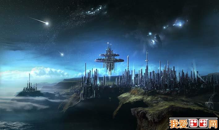 未来城市科幻画图片01:浩瀚星际未来都市科幻图片创想壁纸-未来城图片