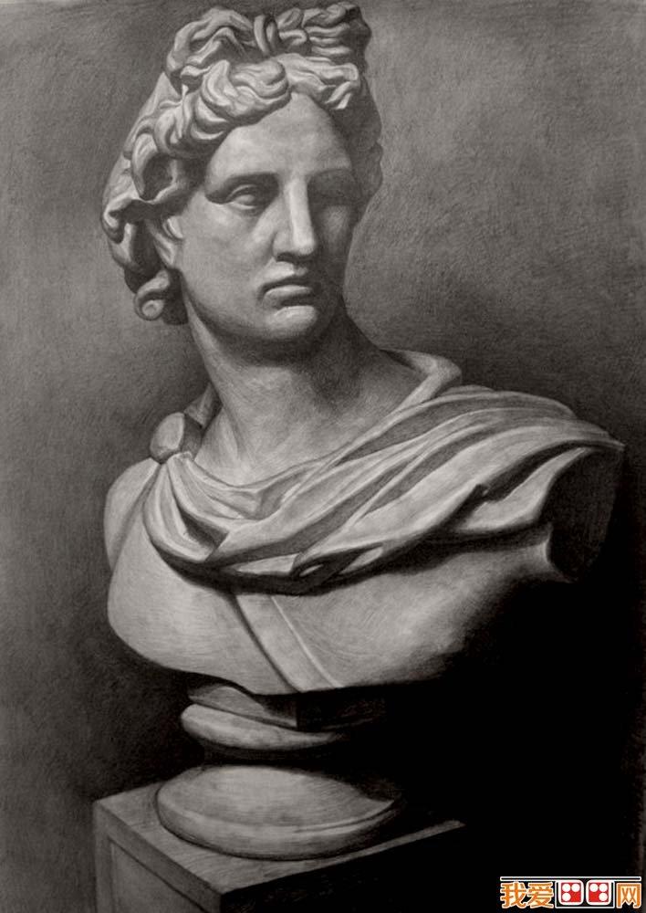 阿波罗胸像石膏像,阿波罗胸像素描头像,阿波罗胸像石膏素描图片