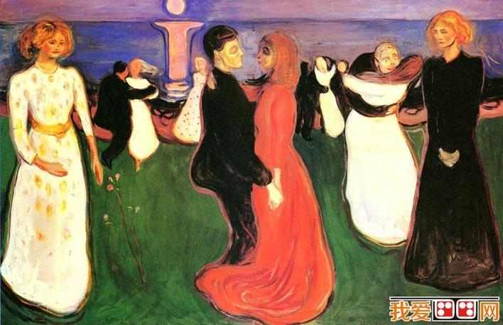 蒙克《生命之舞》蒙克油画人物群像作品高清大图