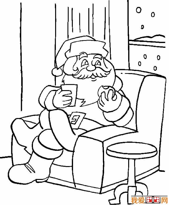 圣诞老人简笔画图片03坐在沙发上吃点心的简笔画