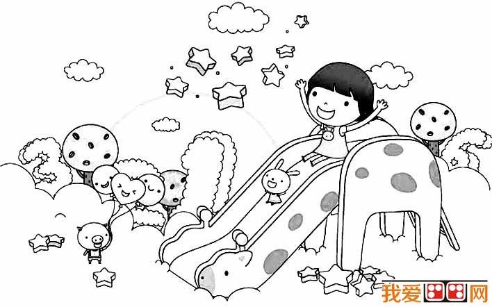滑滑梯简笔画,幼儿园滑滑梯简笔画图片大全