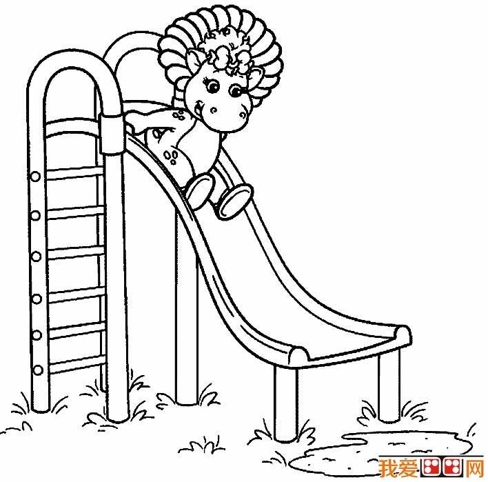 滑滑梯简笔画,幼儿园滑滑梯简笔画图片大全(2)
