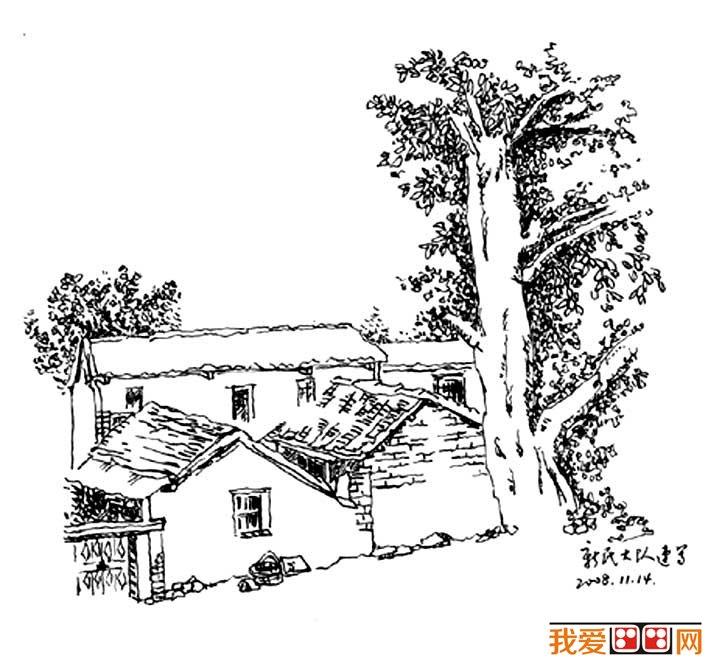 名家钢笔速写风景作品:当代书画家谭巍风景速写作品高清大图6p(3)