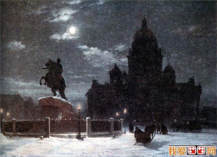 百科 世界名画 风景油画 > 苏里科夫《圣彼得堡》_苏里科夫油画风景
