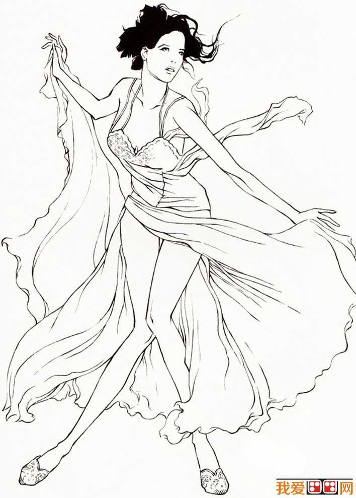 舞动的女子速写人物图片   速写式线描法也可称为写意式勾线法.