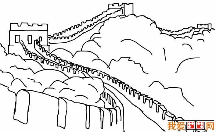 长城简笔画图片大全,万里长城线描画简笔画图片