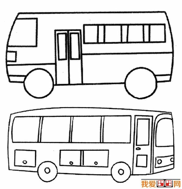 公共汽车简笔画图片大全 各种各样的公交车简笔画 5图片