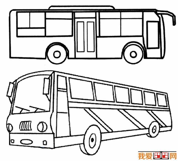 公共汽车简笔画图片大全 各种各样的公交车简笔画(2)