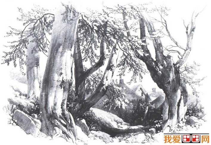 素描风景图片_素描山水风景画