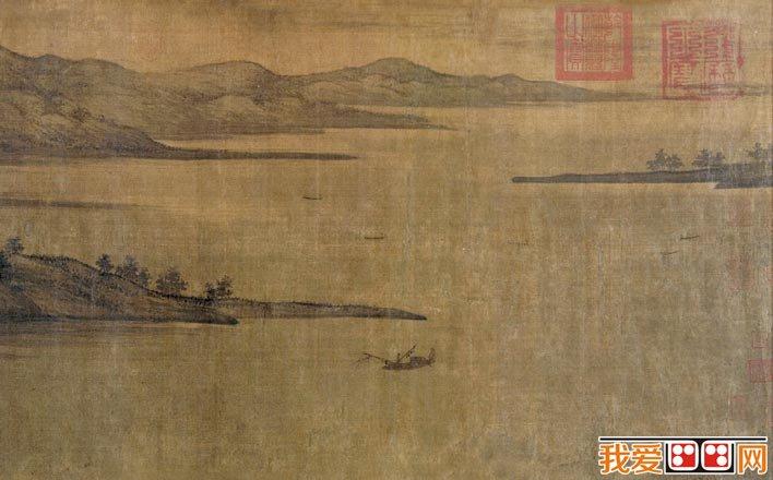 董源《夏景山口待渡图》_董源描绘江南风景山水画的典型代表作品(3)