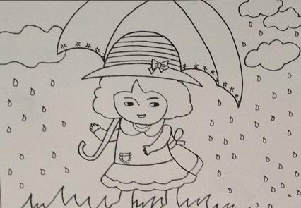 人物水彩画分步教程:雨中的小女孩