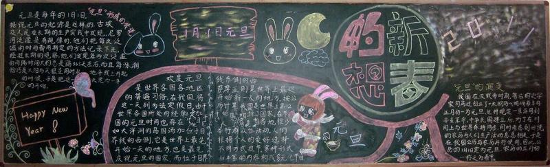 小学生自制元旦节黑板报精美图片