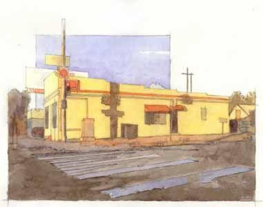 水彩风景绘画:圣达菲水彩画图文教程