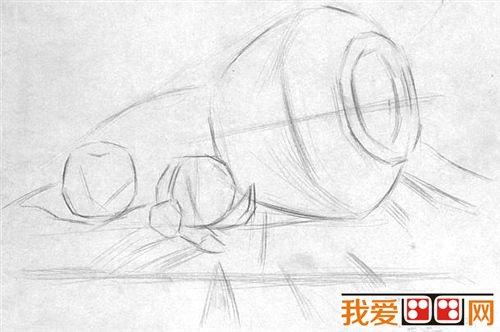 静物素描写生:陶罐与桔子