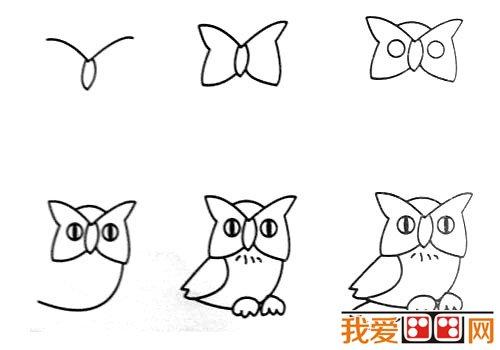 动物简笔画:猫头鹰简笔画的画法