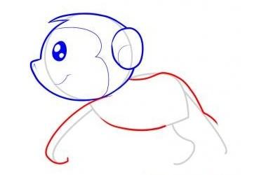 猴子简笔画教程:步骤四 绘画猴子的身躯,记得要