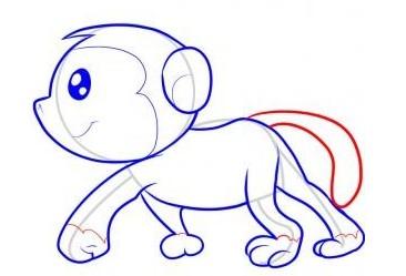 怎么画猴子:猴子简笔画教程图解(7)