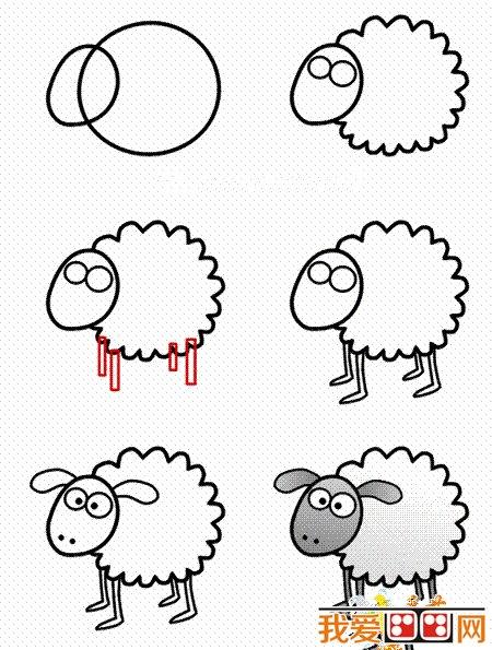 卡通羊简笔画教程