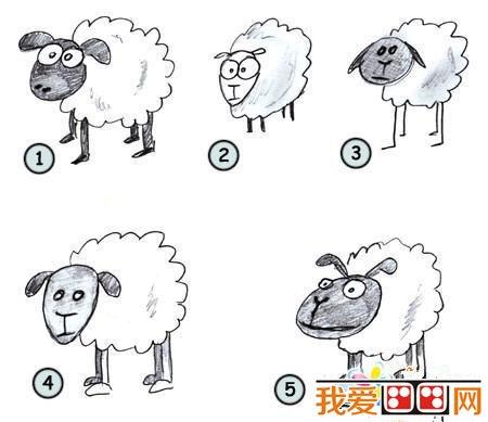 卡通小羊简笔画