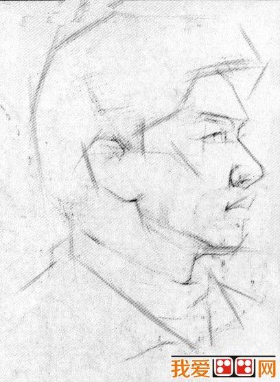素描头像 男青年肖像素描写生步骤图片