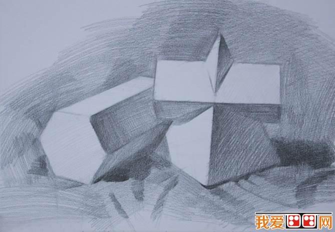 素描石膏几何体作画步骤图片