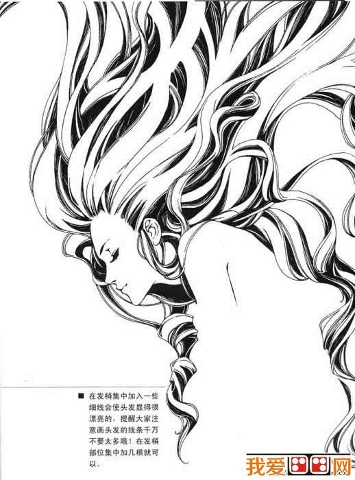 素描教程:编辫的画法-素描肖像 美女发行素描教程图片