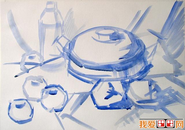 餐具结构素描静物